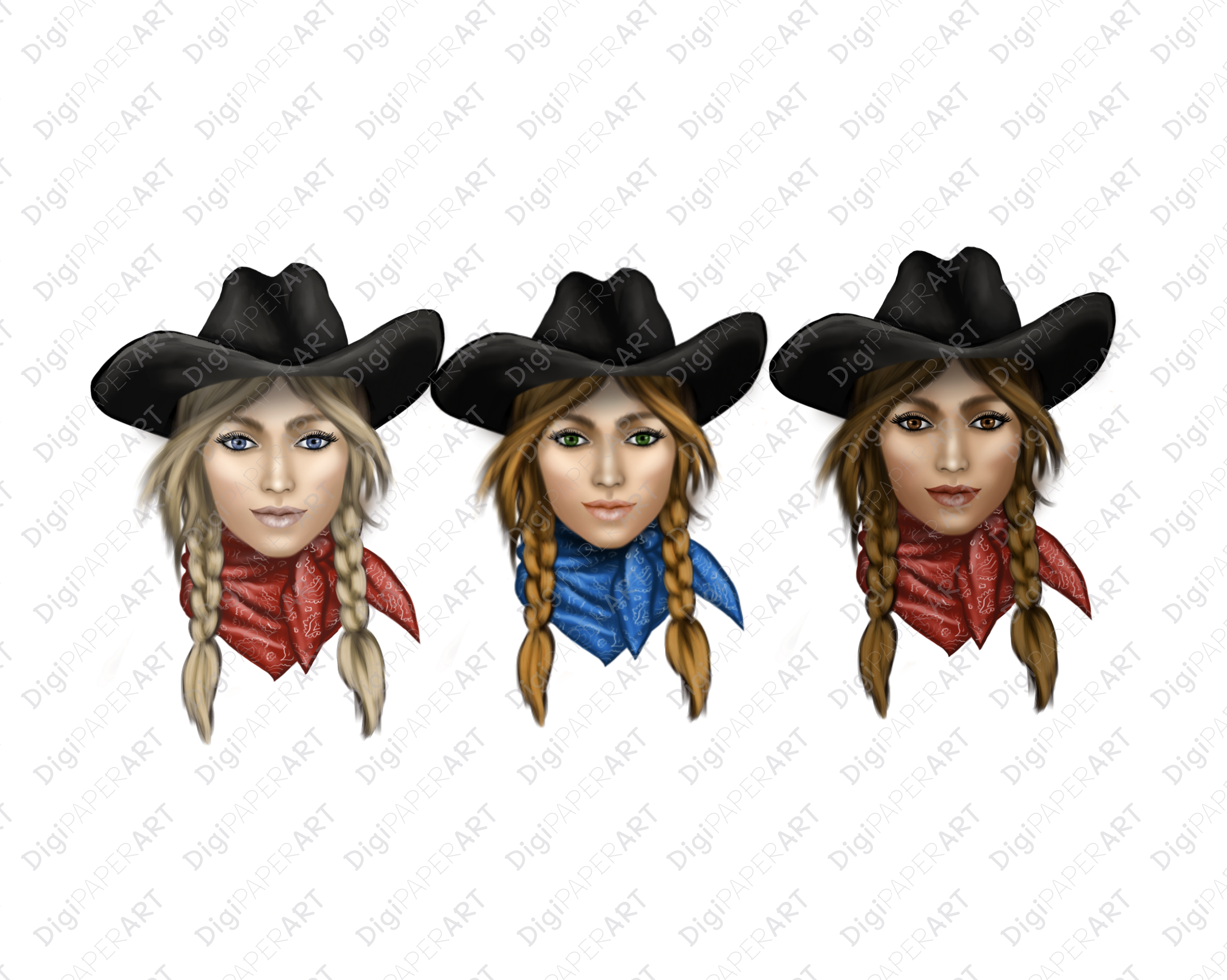 Cowgirl Face PNG, Western Clip Art, Wild West PNG example image 2
