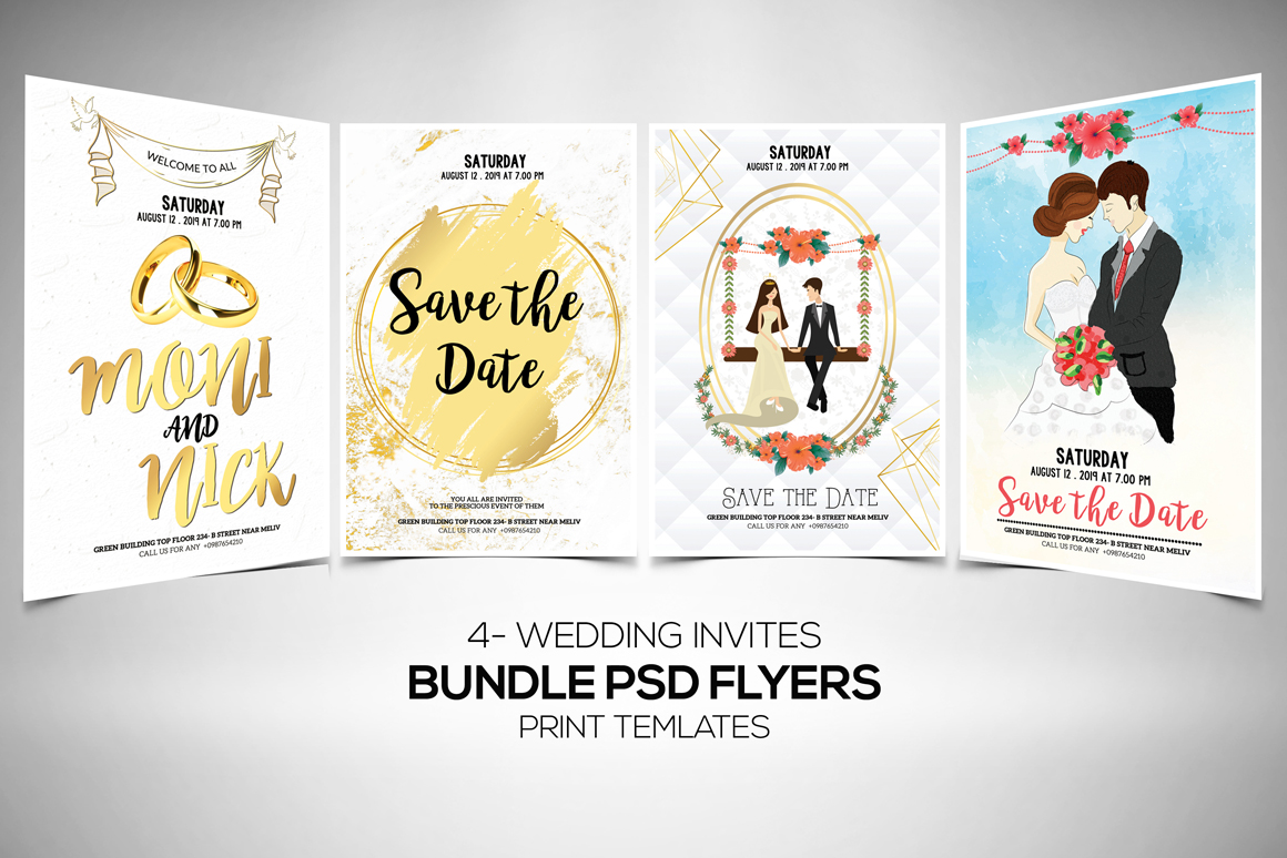 4 Wedding Invitation Flyers Bundle example image 1
