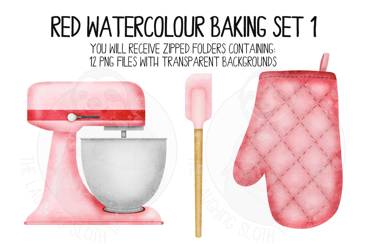 Red Watercolor Baking Clip Art Set example image 2