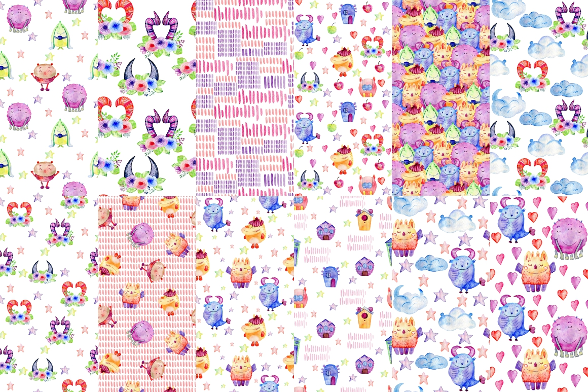 12 watercolor seamless patterns with monsters. example image 2