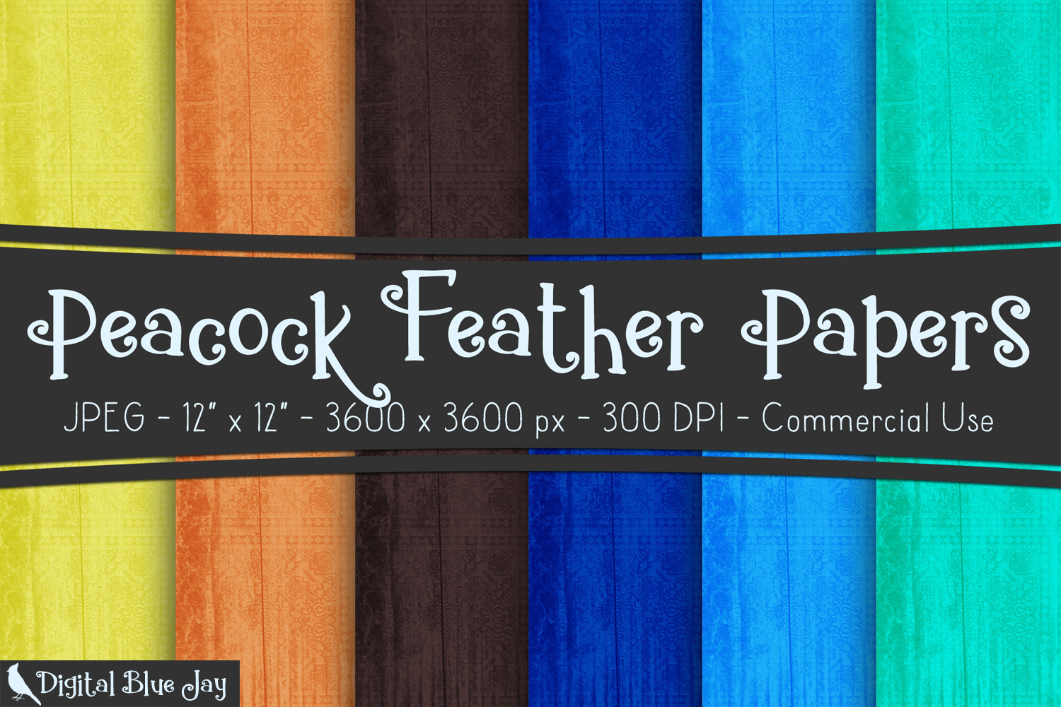 Digital Paper Textured Backgrounds - Peacock Feather example image 1