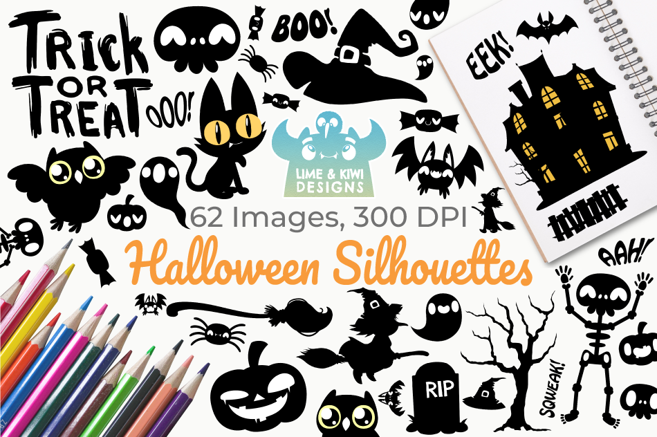 Halloween Silhouettes Clipart, Instant Download Vector Art example image 1