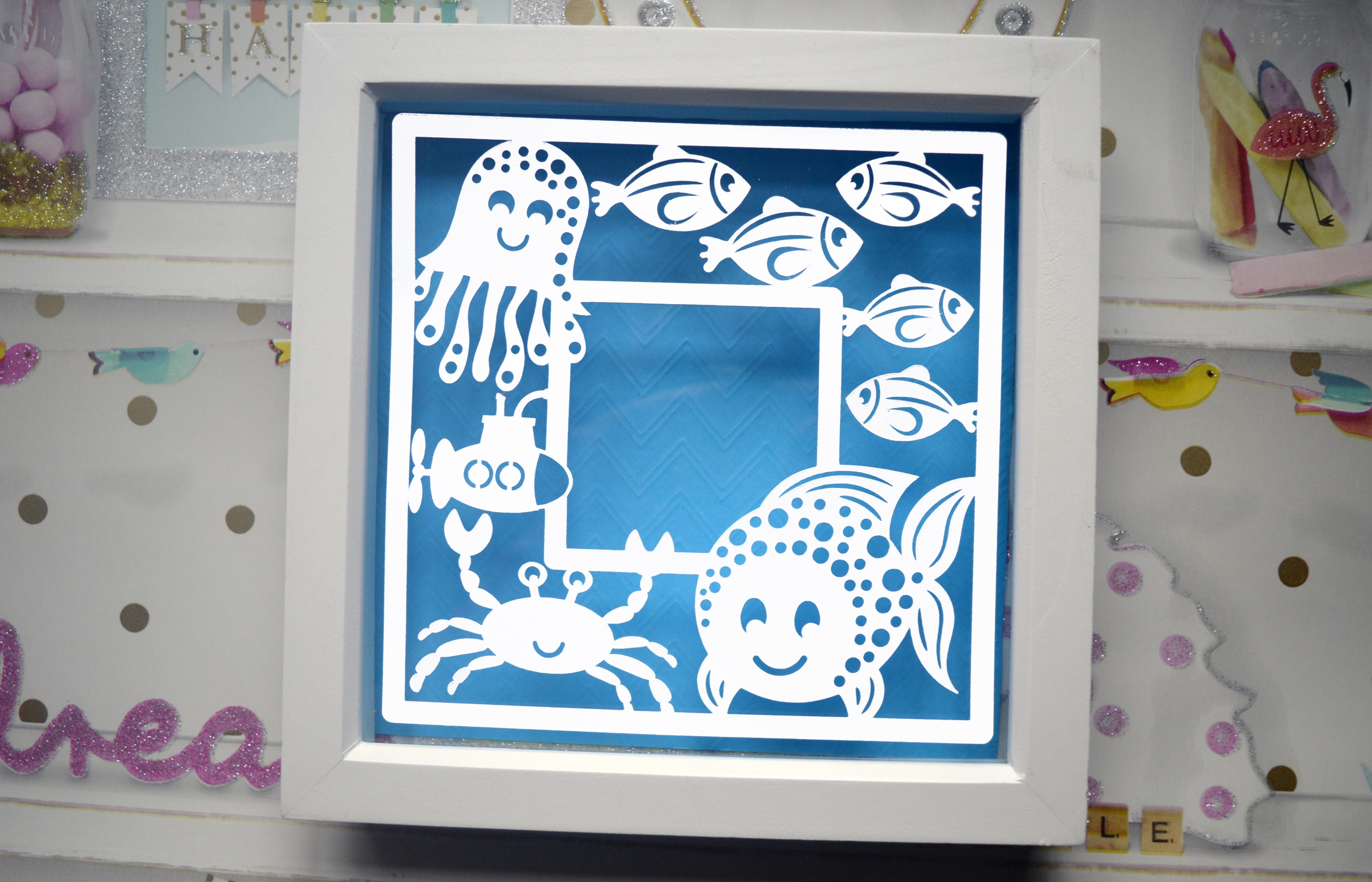 Fish frame paper cut SVG / DXF / EPS Files example image 3