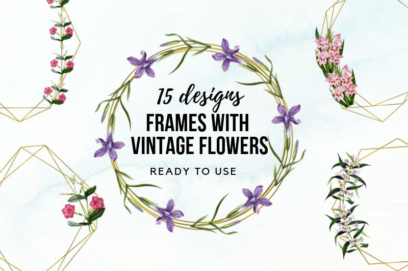15 Vintage Wedding Geometric Frames, Wedding Floral Frames example image 1