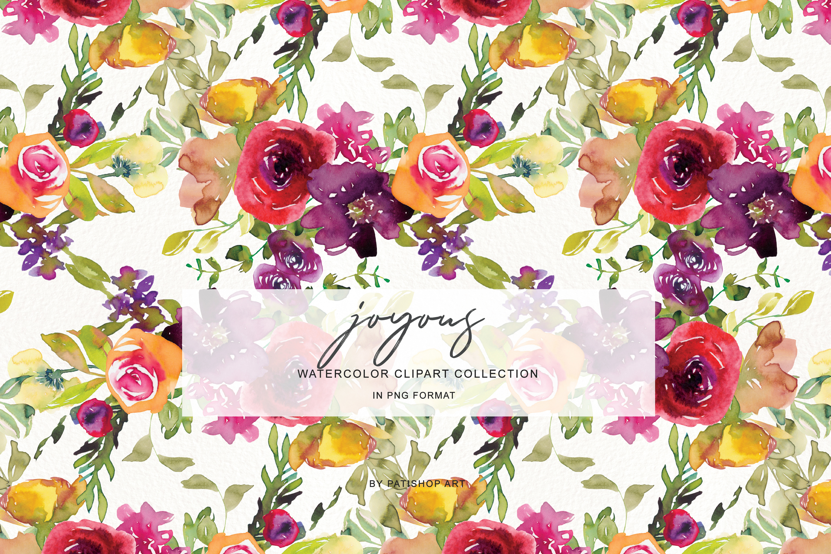 Watercolor Burgundy and Yellow Floral Bouquet Clipart example image 3