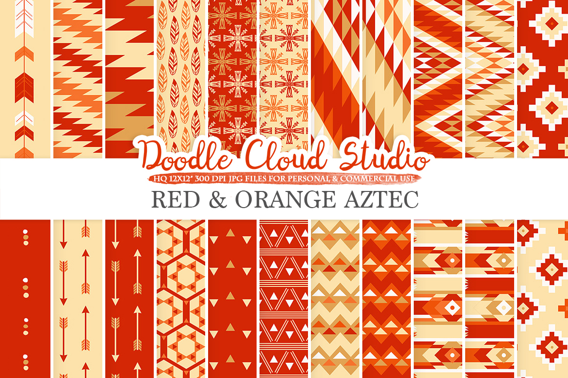 Red and Orange Aztec digital paper ,Tribal patterns native triangles geometric ethnic arrows Gold background for Personal & Commercial Use example image 1