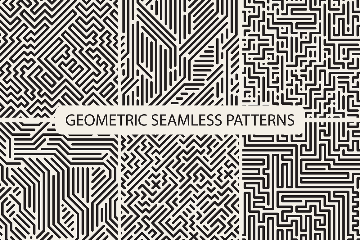 Seamless striped geometric patterns example image 5