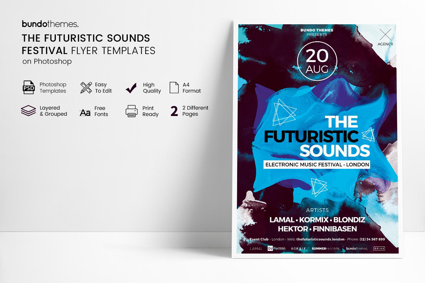The Futuristic Festival Flyer Template example image 5