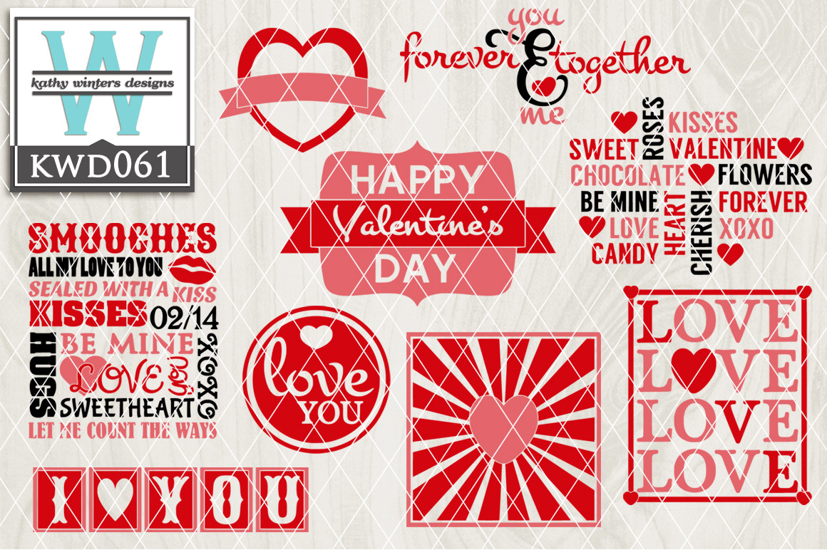 Valentines Cutting File KWD061 example image 1