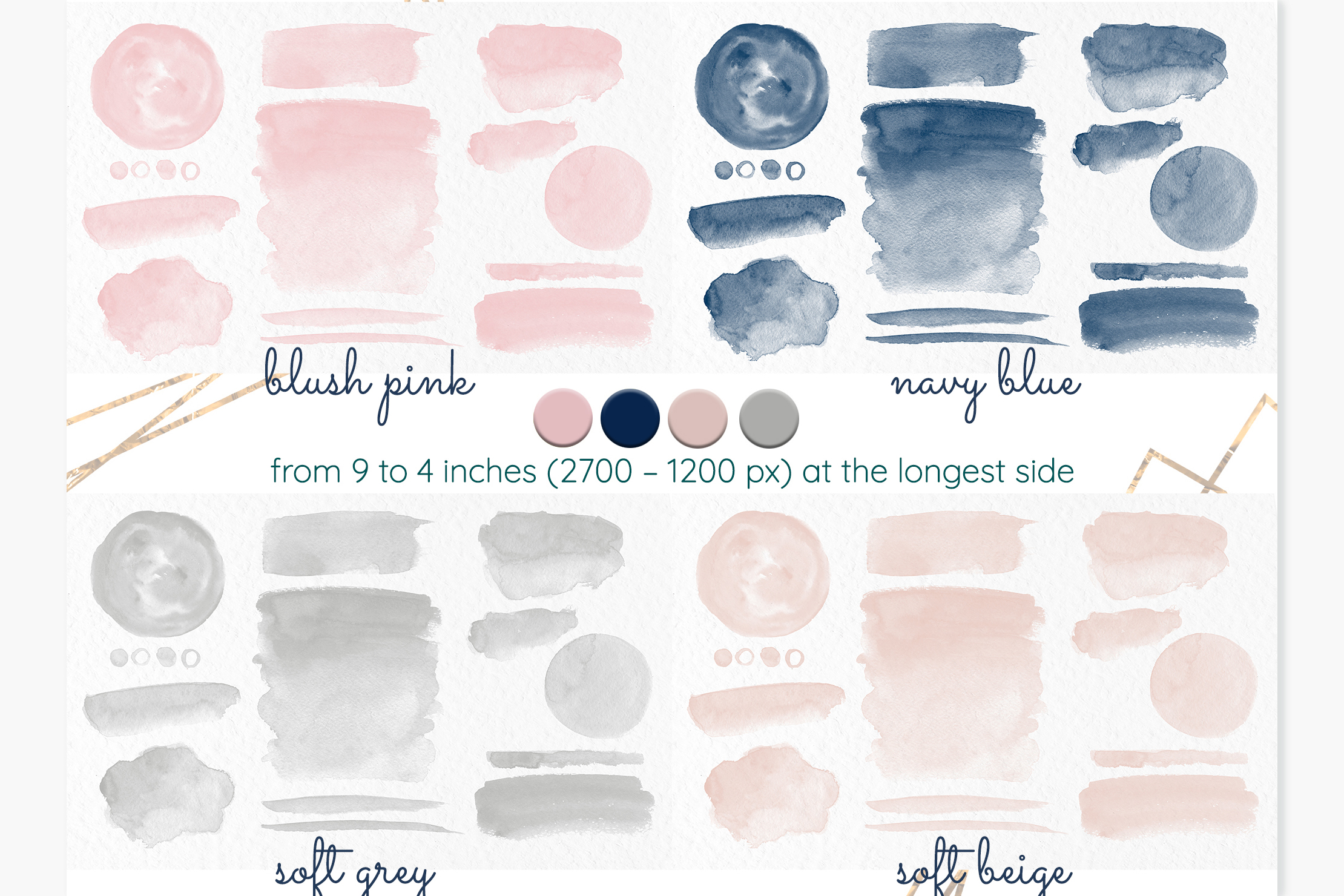 Watercolor stains Blush pink Navy blue Beige Grey washes example image 2