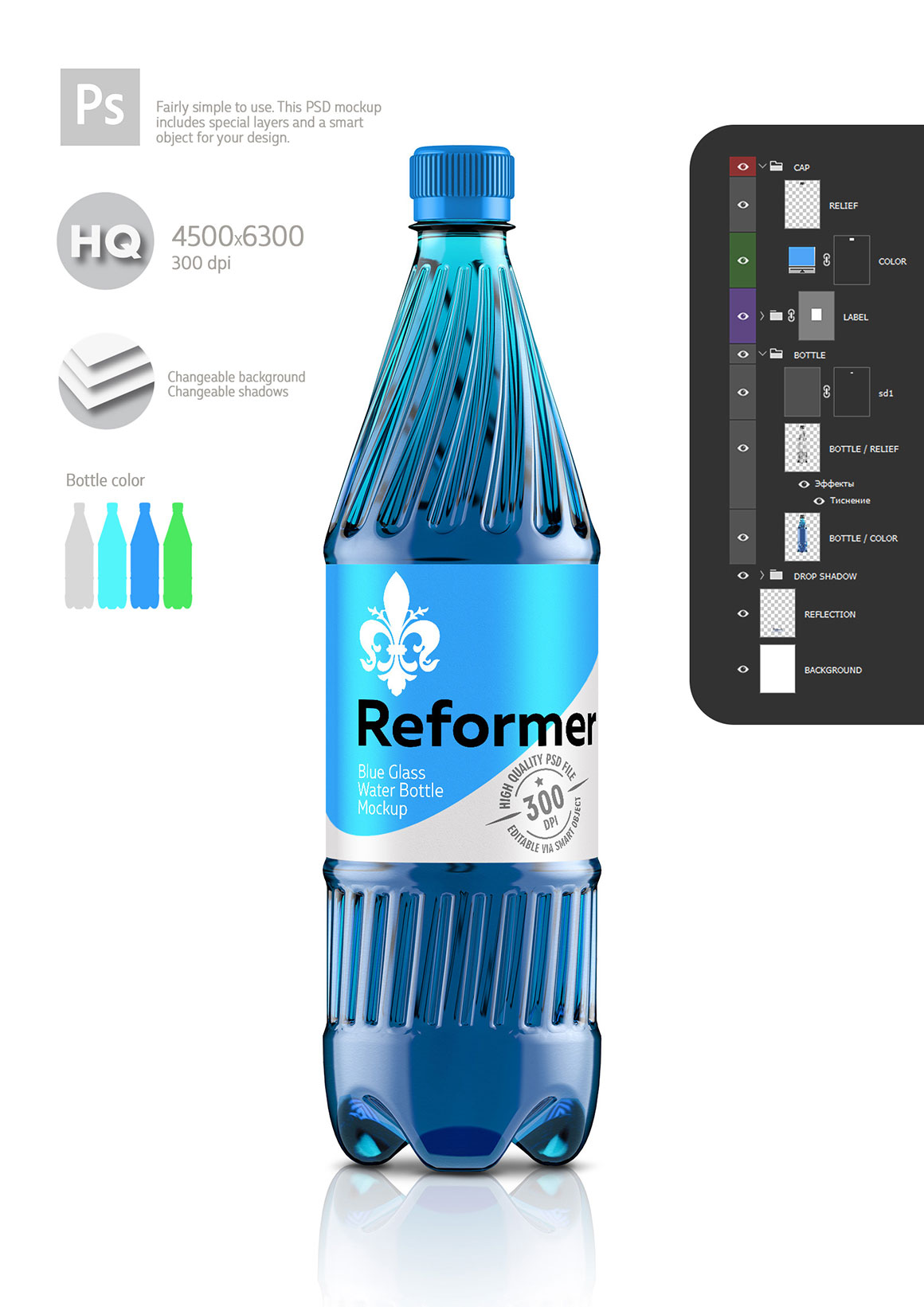 Water Bottle Mockup (4 files) + Poster example image 5