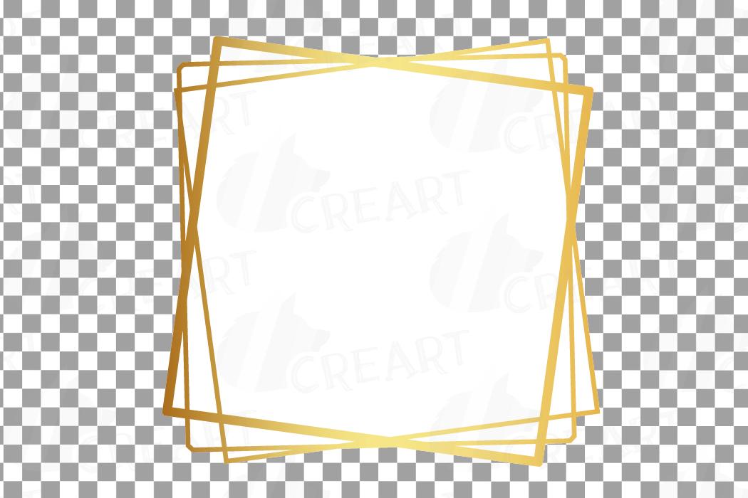 Elegant wedding geometric golden frames, lineal frames png example image 4
