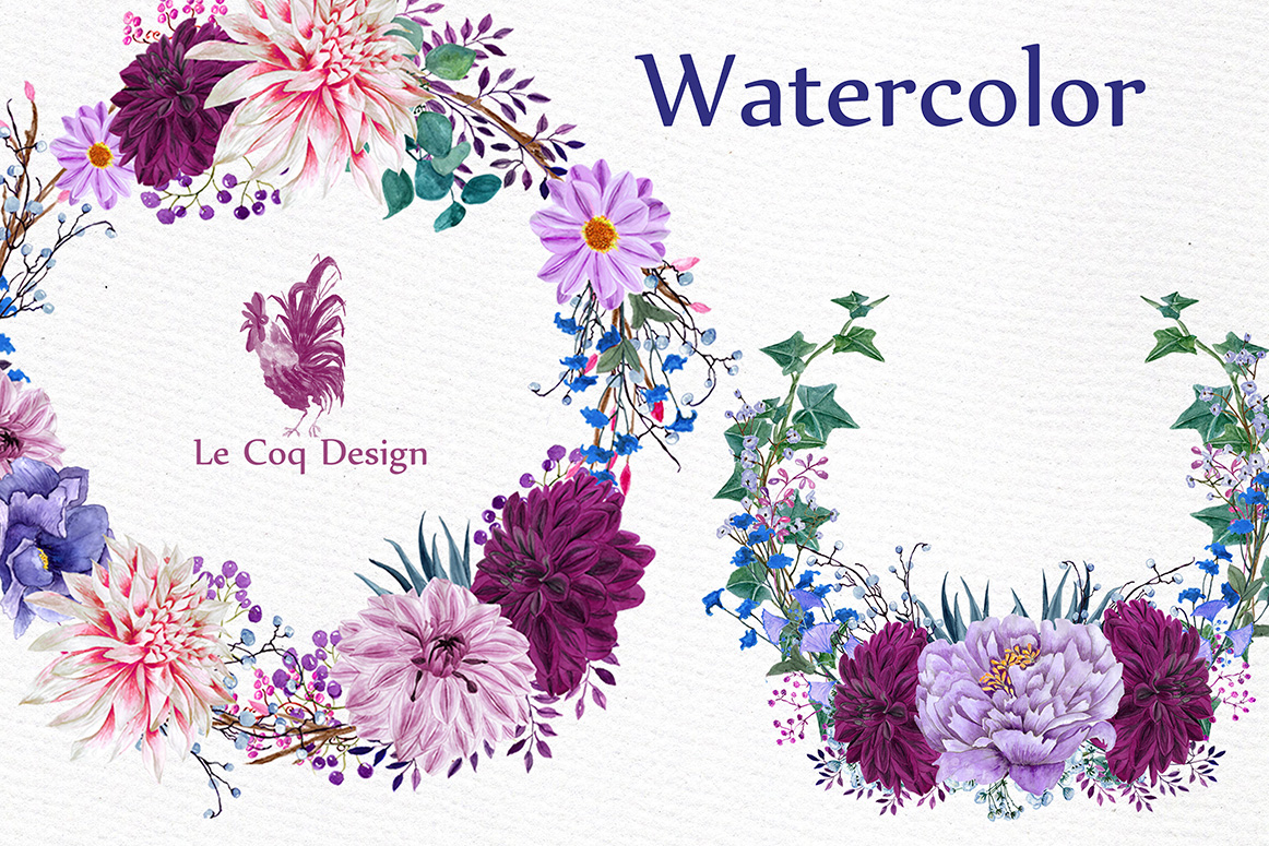Watercolor Wreaths Clipart example image 4