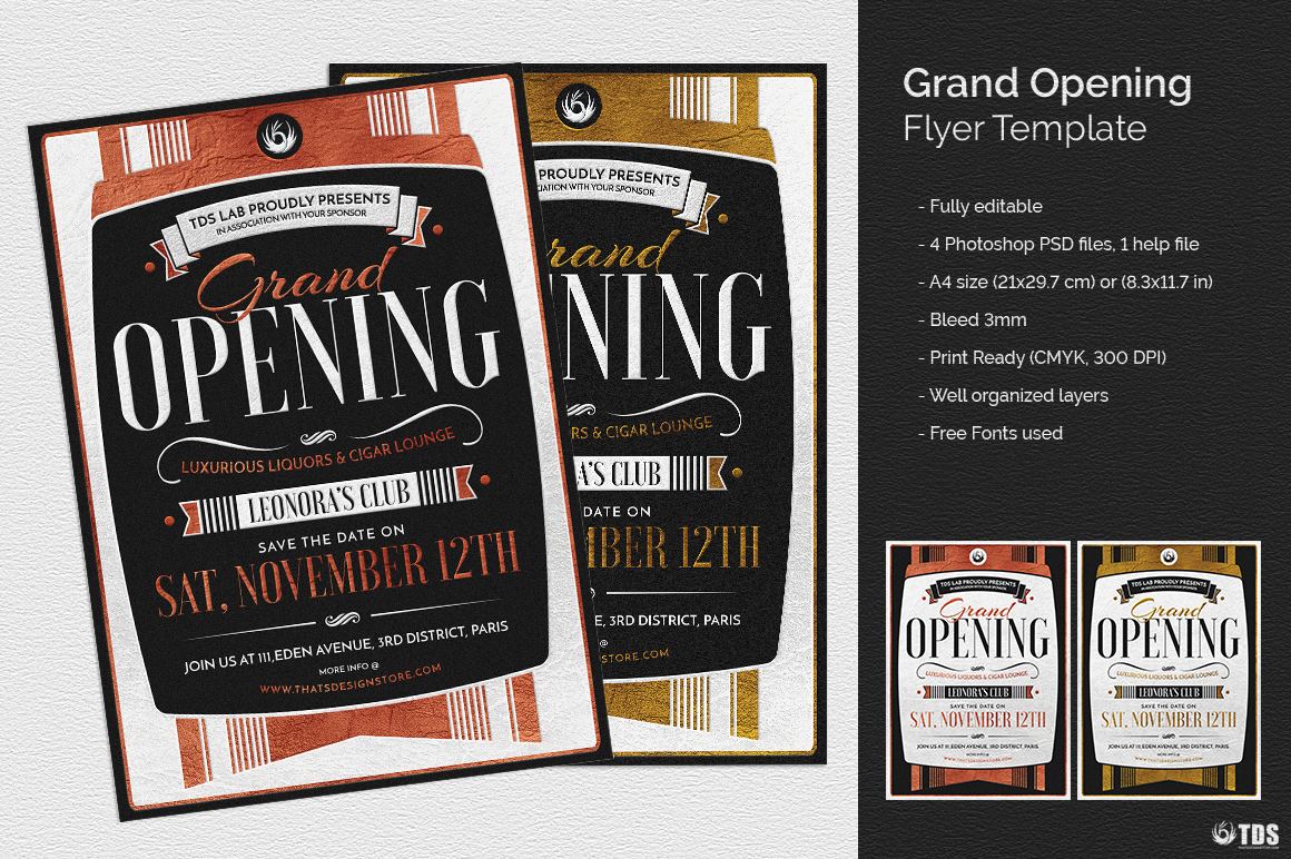 Grand Opening Flyer Template By TDStore Design Bundles - Save the date flyer template free