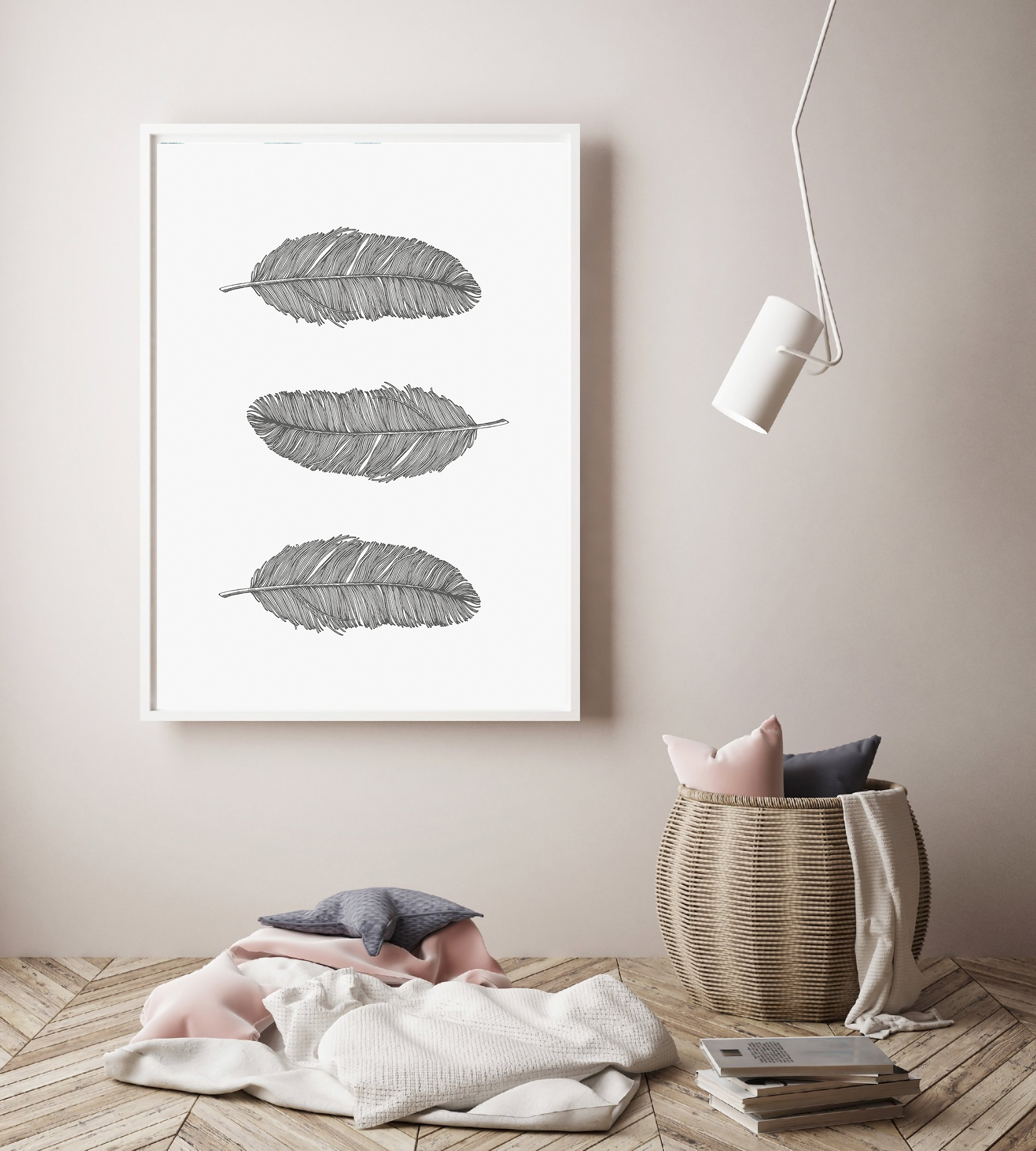 Gray Feathers Wall Art Printable, Bohemian Nursery Decor example image 3