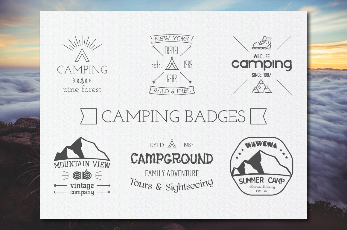70% OFF Adventure Graphics Pack / Retro Logos Set / SVG's Collection / Icons example image 2