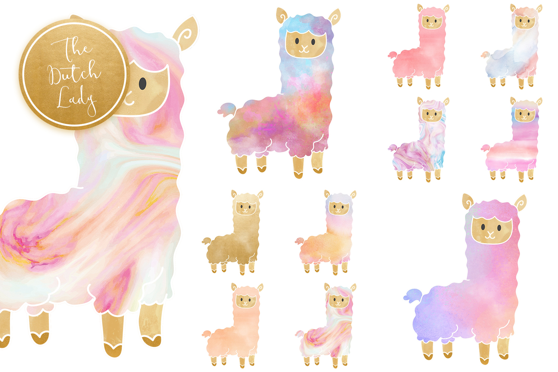 Pastel Lama & Alpaca Clipart Set example image 5