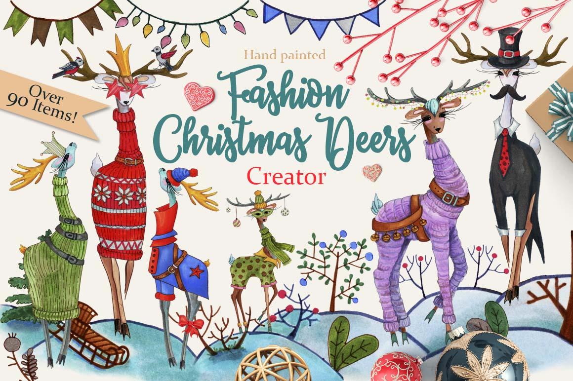 Fashion Christmas Deers Creator example image 1
