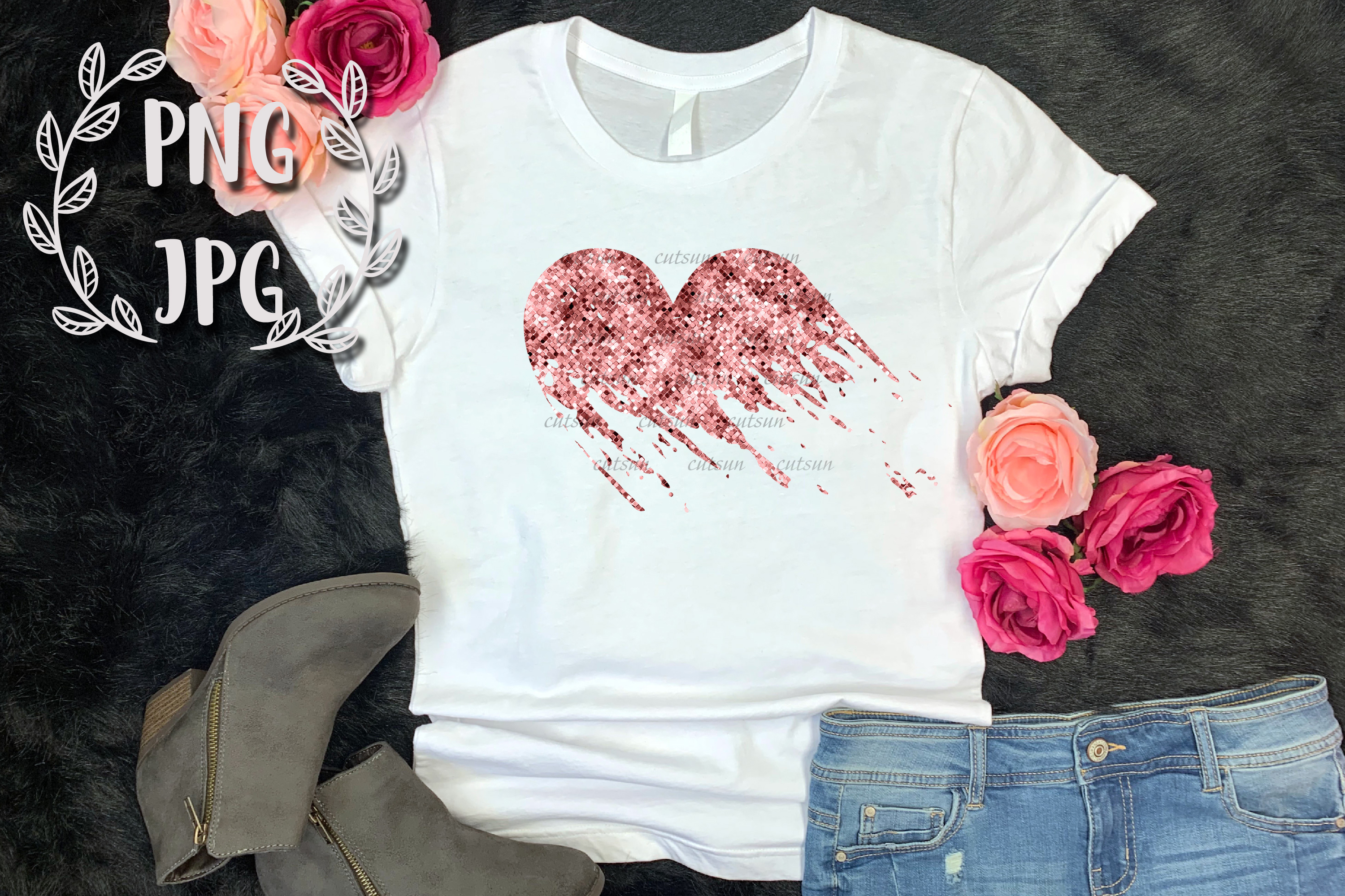 Rose Gold Distressed Heart sublimation design example image 2