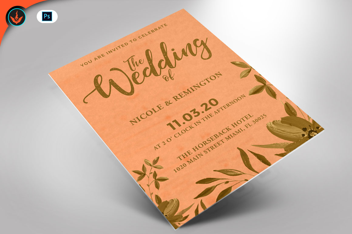 Gold and Peach Wedding Invite Template example image 1