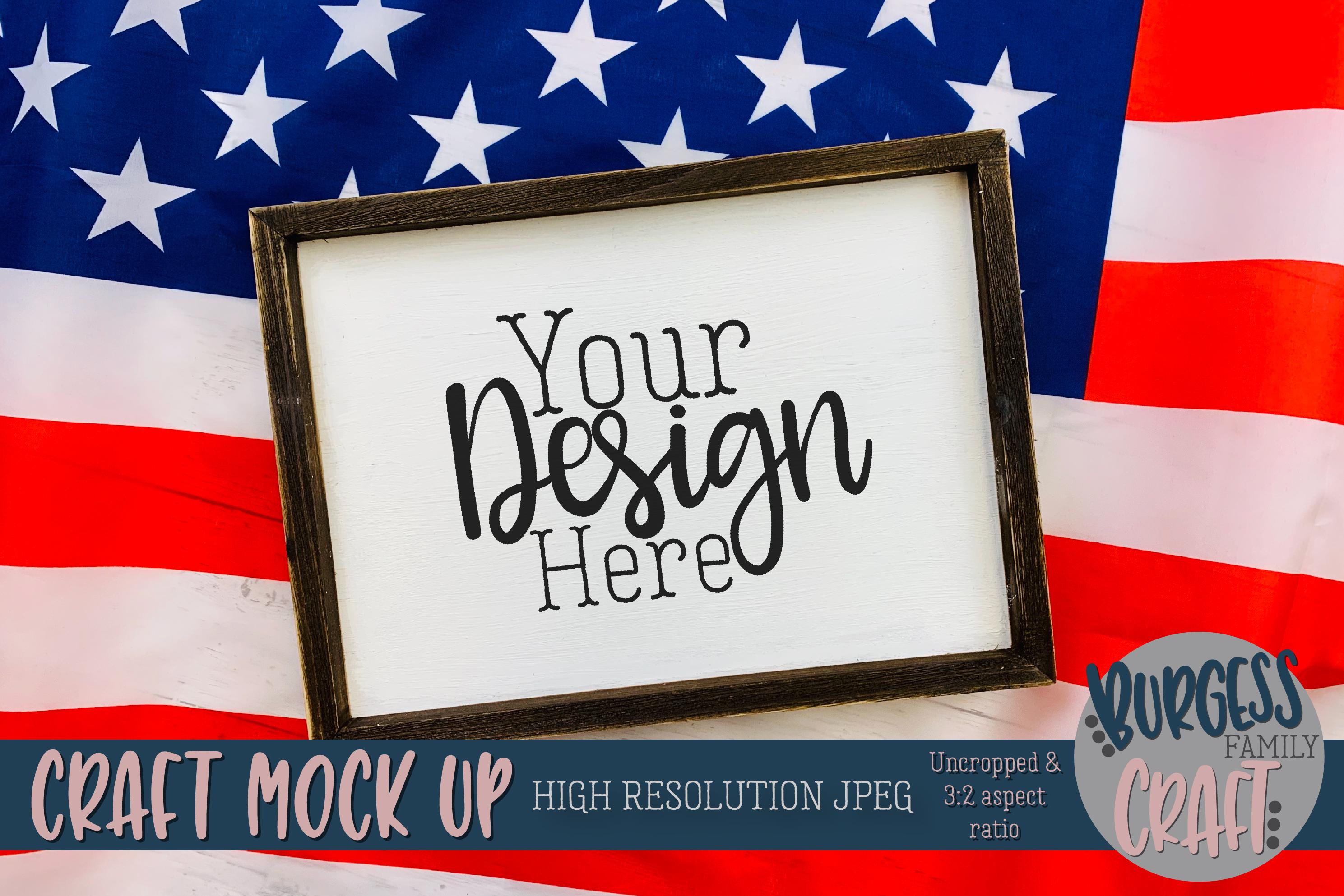 Patriotic USA landscape sign Craft mock up | High Res JPG example image 1
