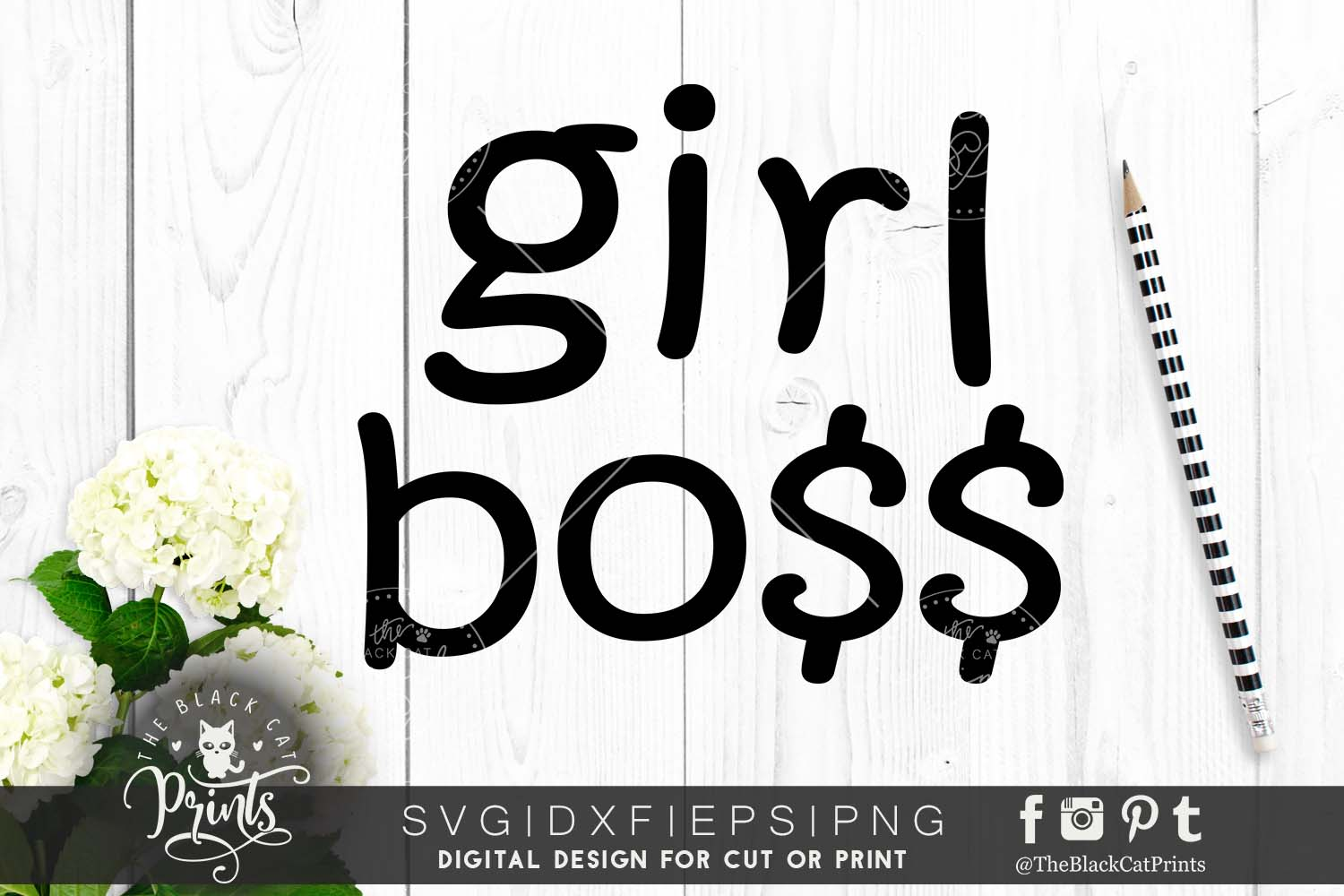 Girl boss SVG PNG EPS DXF example image 1
