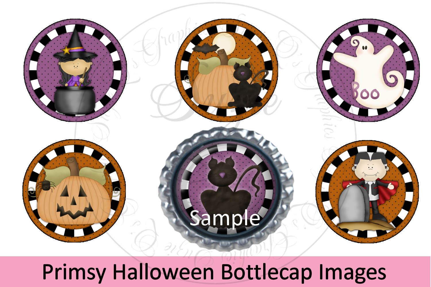 Primsy Halloween Bottlecap Images, Labels example image 1