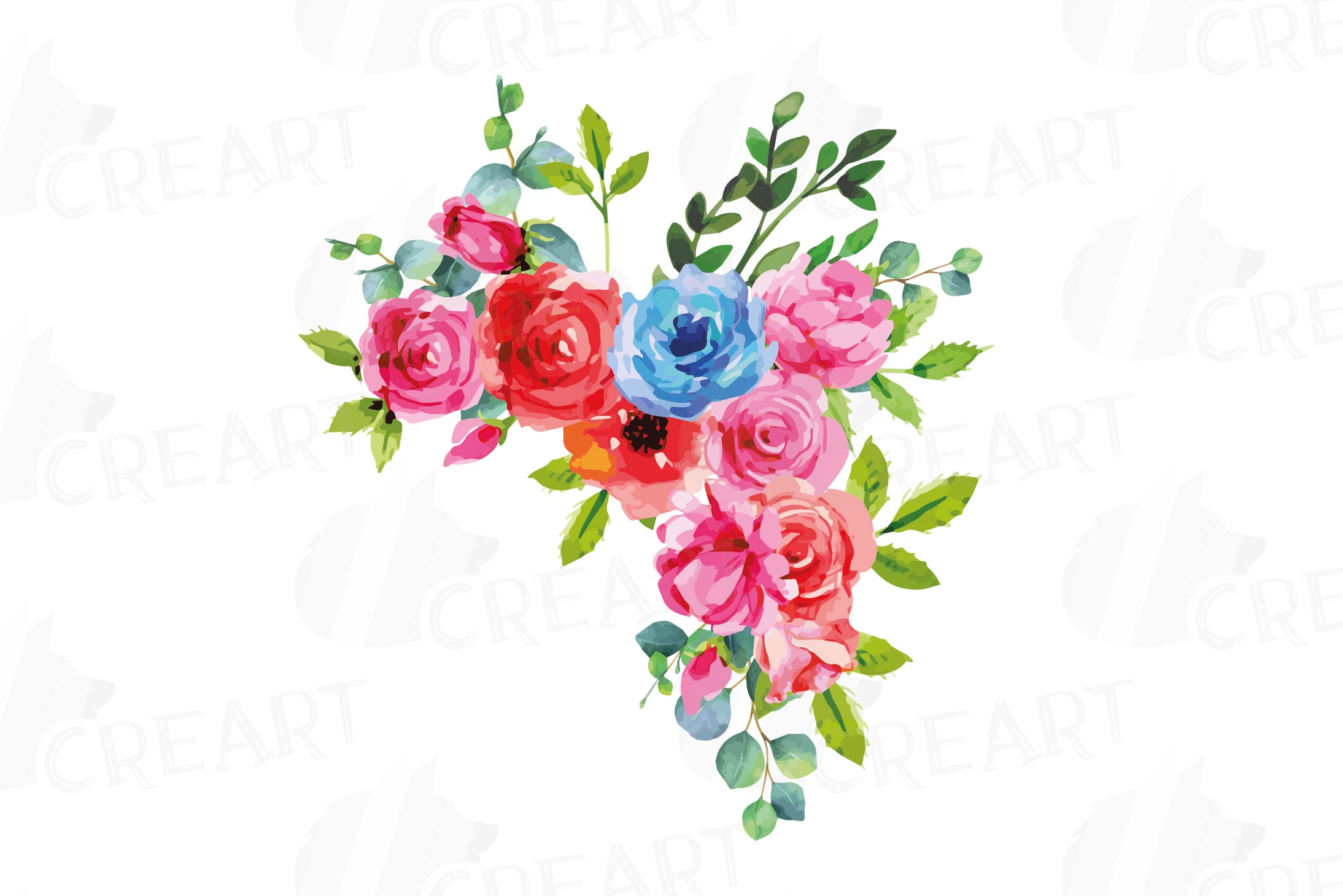 Boho pink and blue watercolor wedding bouquets, floral png example image 10