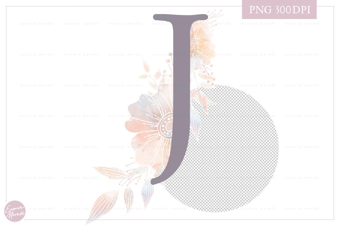 Letter J Floral MONOGRAM - WEDDING flower initial example image 2
