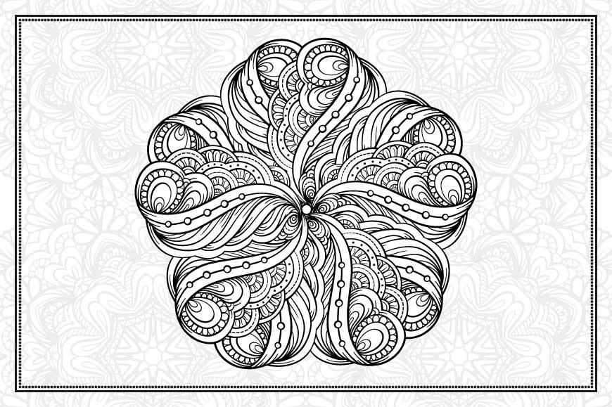 Black and white mandalas set example image 6