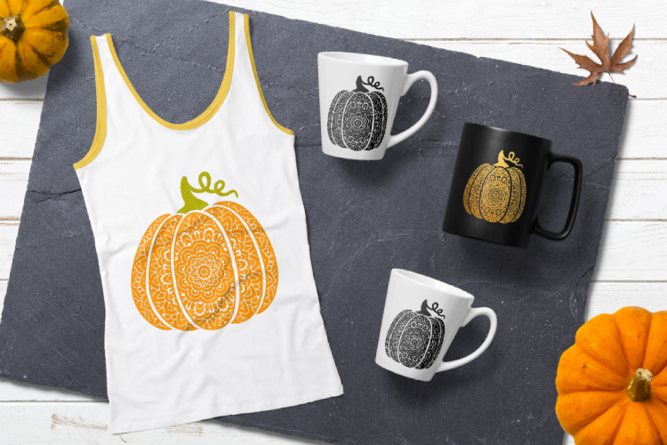 Scroll pumpkin svg. Bohemian fancy pumpkin example image 3