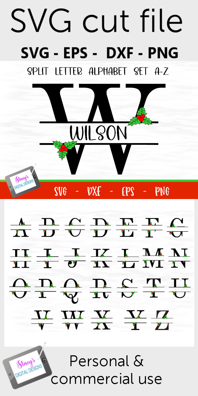 Split Letters A-Z - 26 Christmas split monograms with holly example image 7