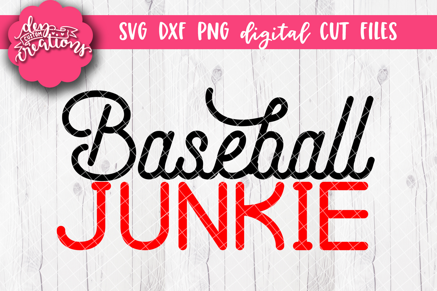 Baseball Junkie - SVG DXF PNG Cut files & Clipart example image 1