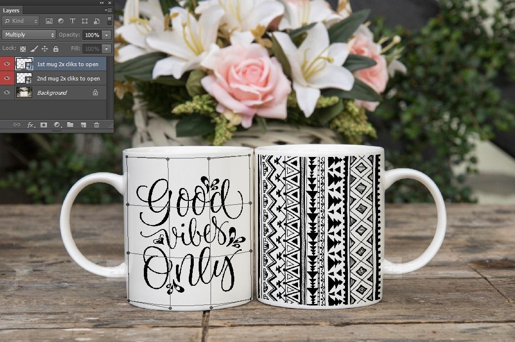 Two coffee mug mock ups double mockup mugs set of 2 cups example image 4
