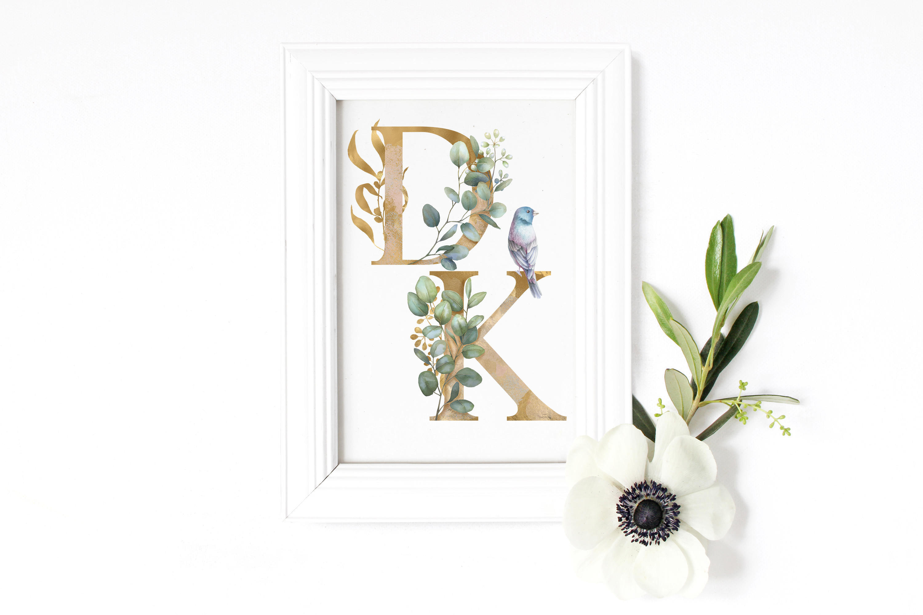 Eucalyptus alphabet Watercolor clipart, gold floral letters example image 7