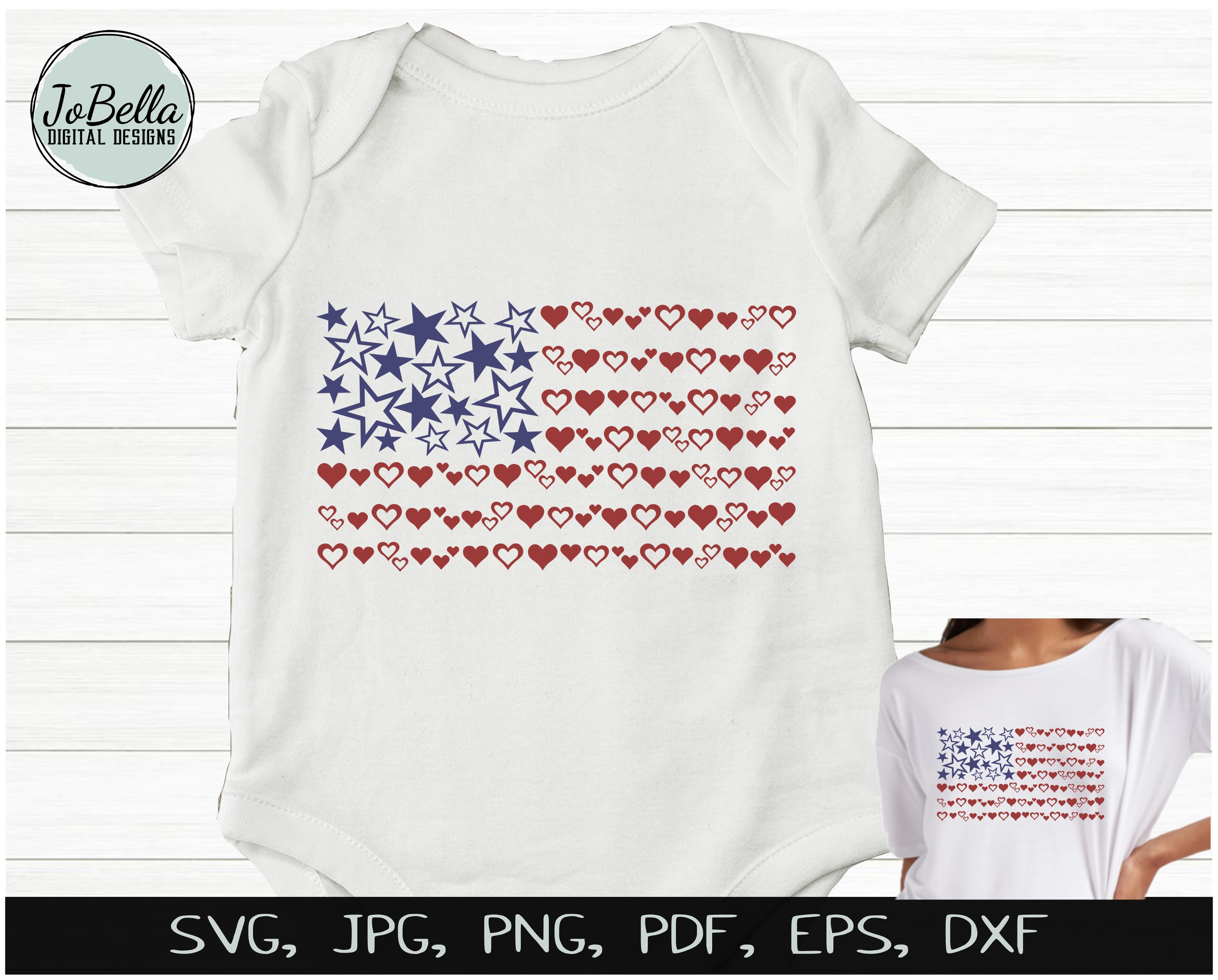 Hearts & Stars American Flag SVG & July 4th Sublimation PNG example image 2