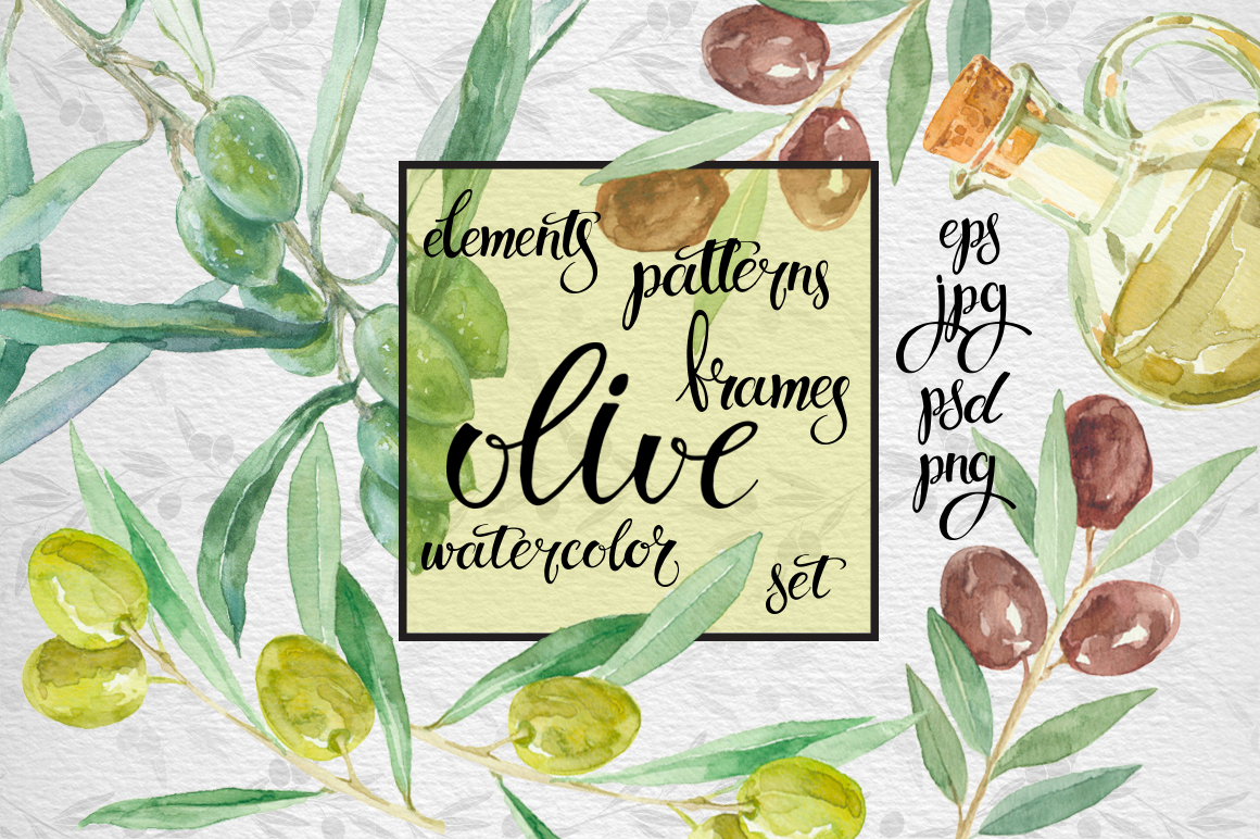 Watercolor olive set example image 1