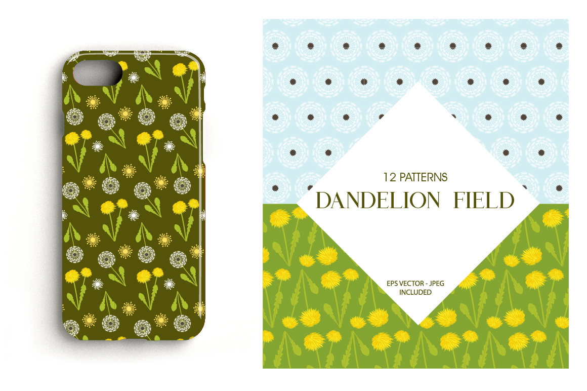 Dandelion Field Pattern collection, vector ai, eps and jpeg example image 4
