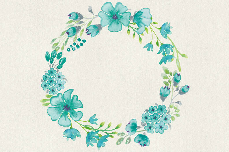 Watercolor wreath of sea green flowers example image 4