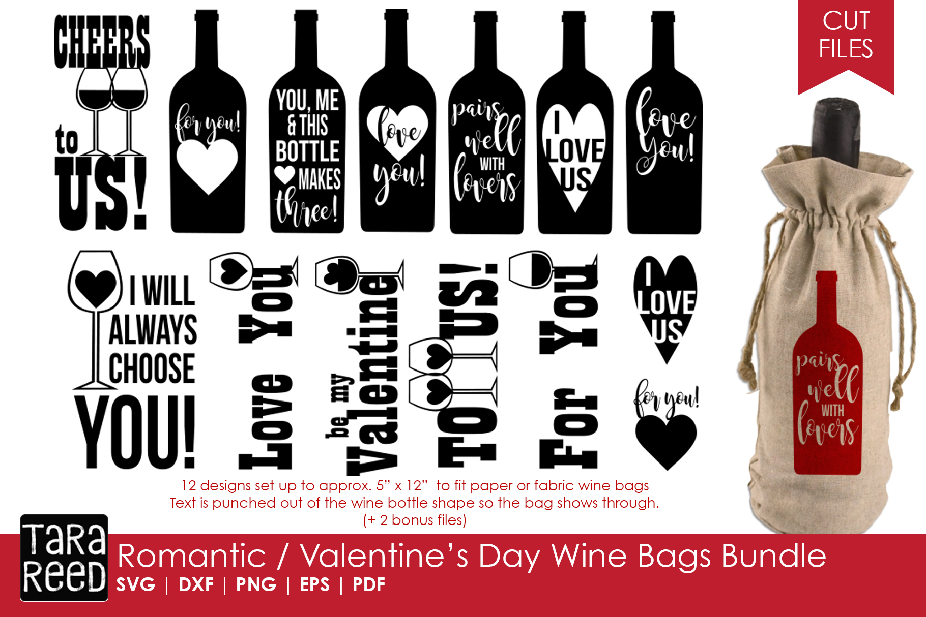 Valentines Day Wine Bags Bundle example image 1
