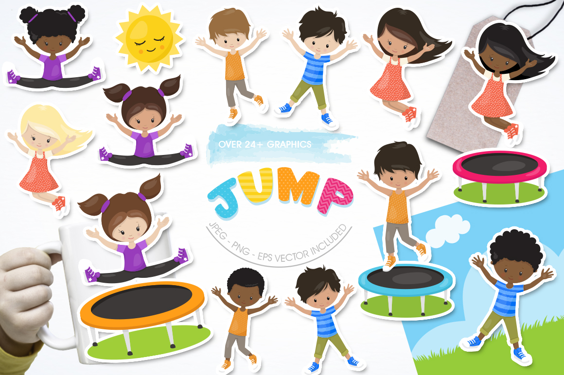 Jump trampoline graphic and illustration example image 1