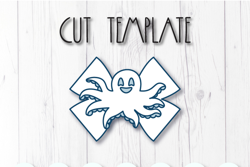 Octopus Hair bow template SVG, DIY leather bow template example image 2