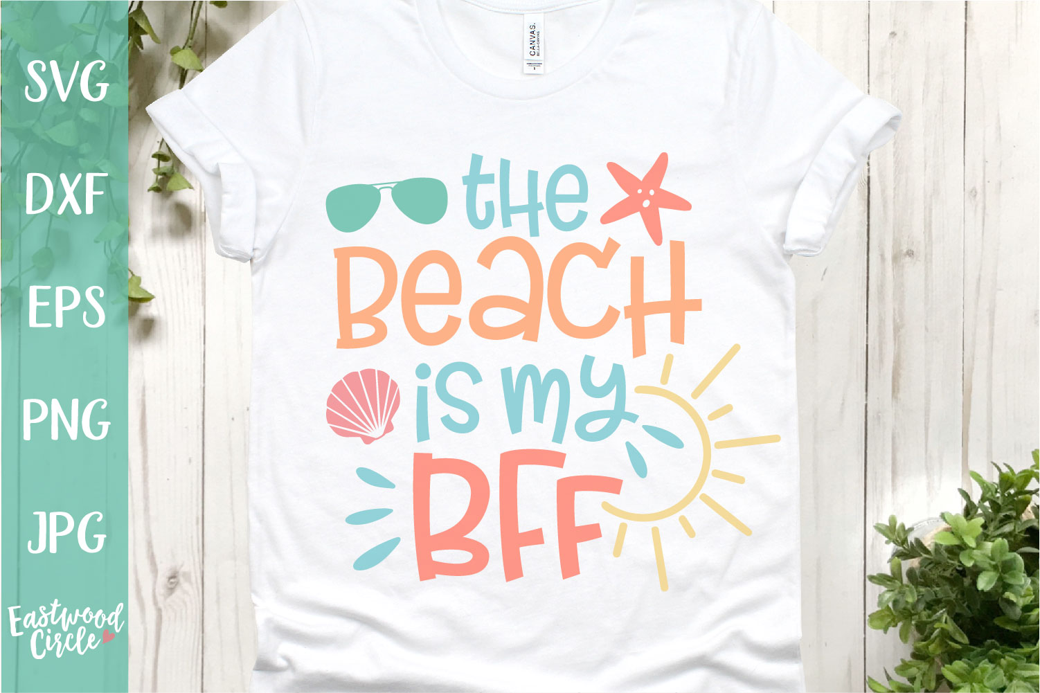 The Beach Is My BFF - A Beach SVG Cut File for Crafters example image 1