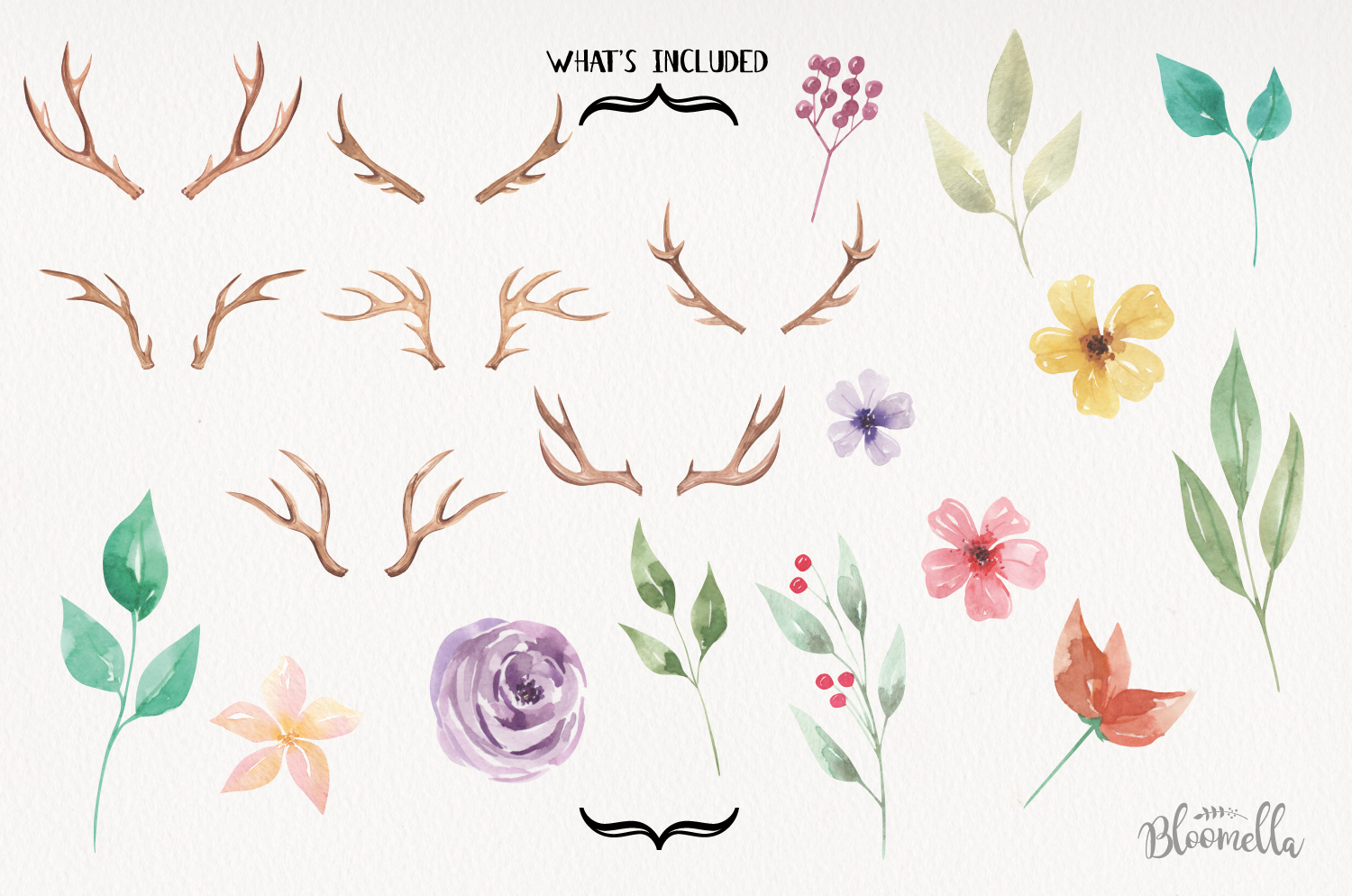 Create Your Own Watercolor Elements Flowers Antlers Florals example image 3