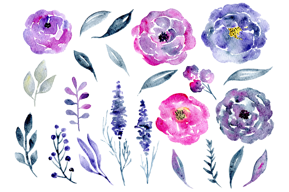 23 Watercolor floral elements example image 2