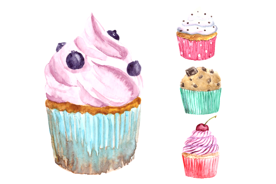 Watercolor Sweets Clip Art Set example image 4