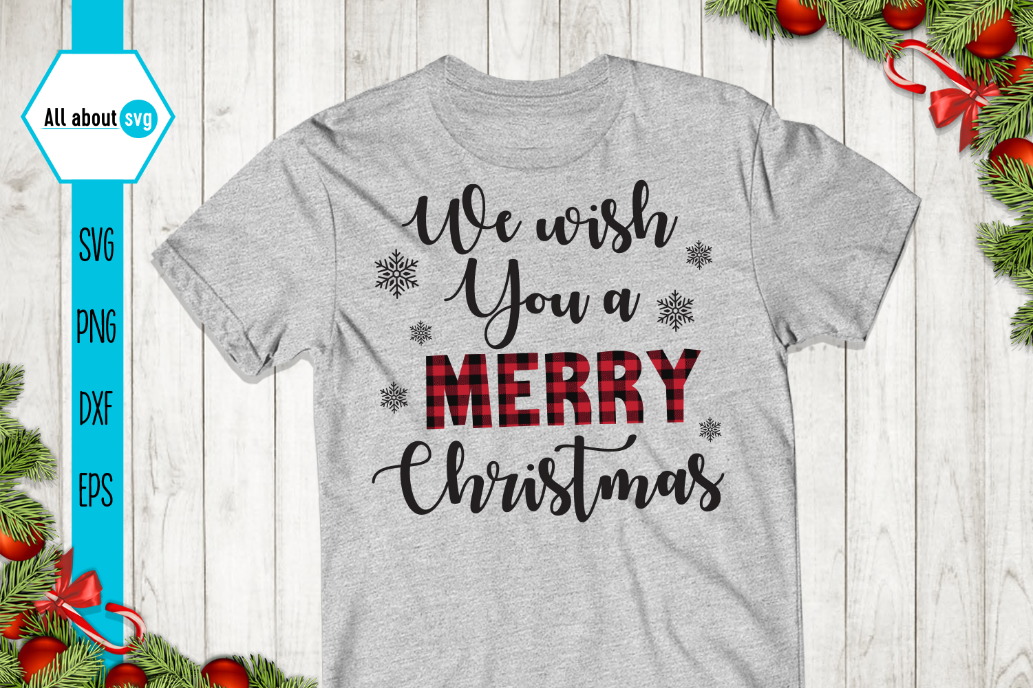 We Wish You A Merry Christmas Plaid Svg example image 1