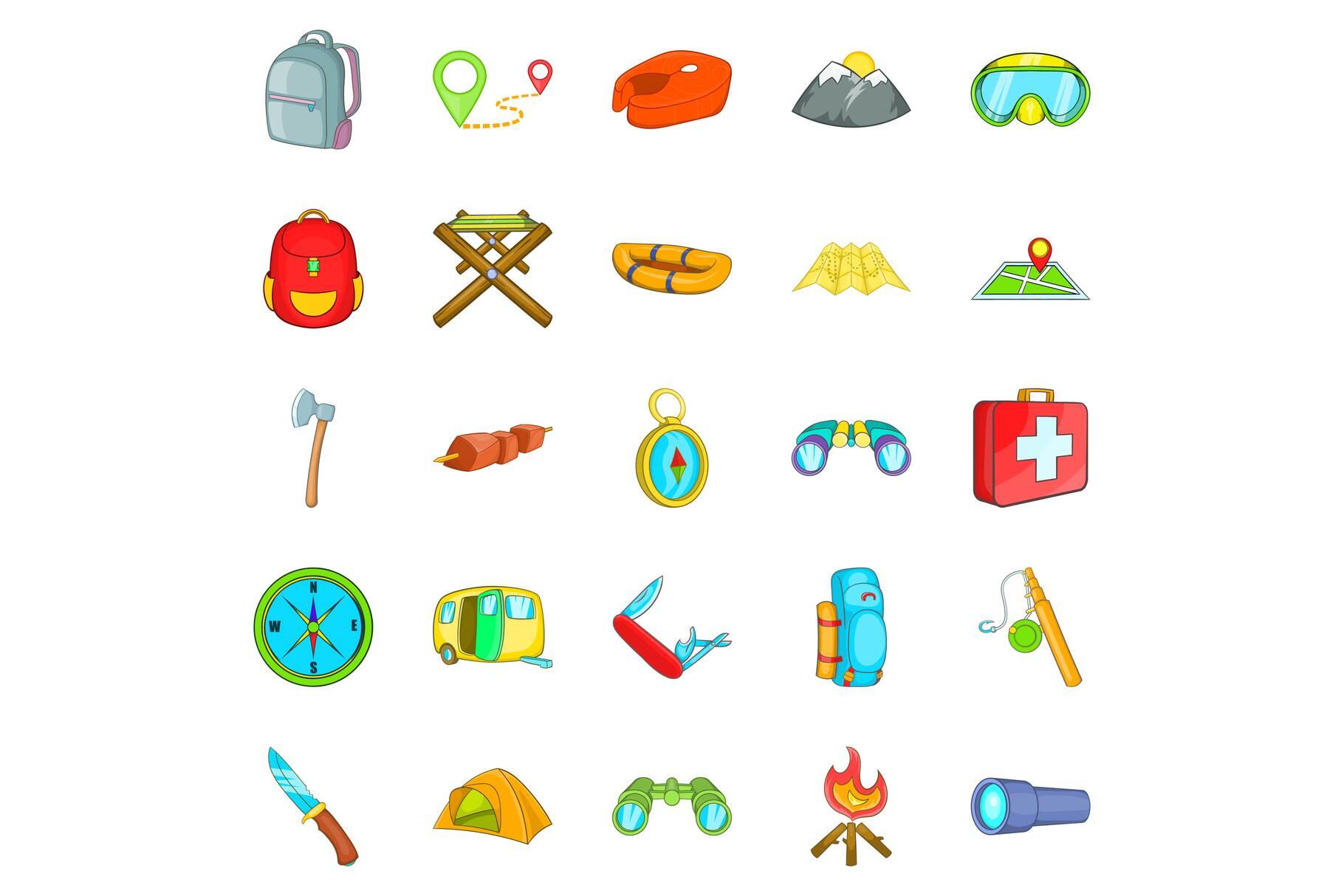 Wilderness icons set, cartoon style example image 1