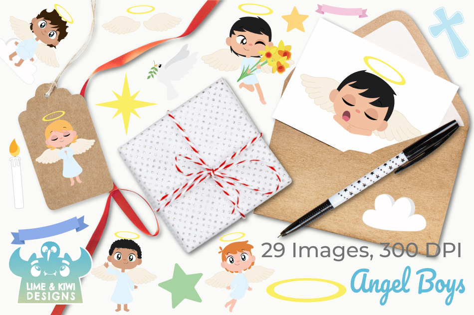 Angel Boys Clipart, Instant Download Vector Art example image 4