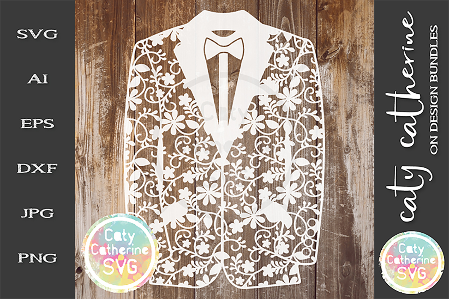 Groom Tuxedo Wedding Suit Pattern Papercut Bow Tie SVG example image 1
